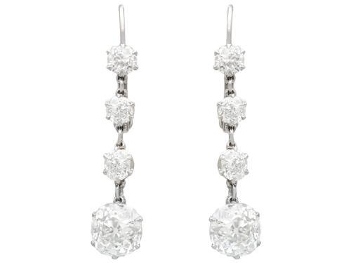 5.80ct Diamond and Platinum Drop Earrings - Antique Circa 1920 (1 of 9)