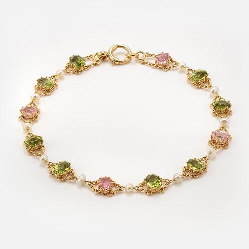 Antique Edwardian Pink Tourmaline Pearl and Peridot Bracelet Circa 1900's (1 of 8)