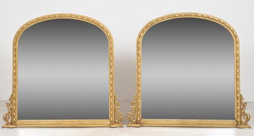 Pair of Victorian Carved Overmantle Mirrors (1 of 6)