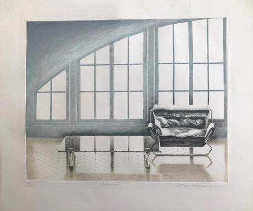 Original etching 'L'Atelier' by Peter Eastham. Signed dated and numbered 28/200.4 (1 of 3)