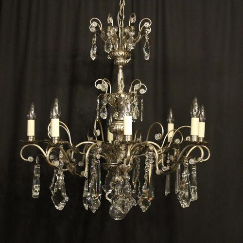 Italian Silver & Crystal Genoa 8 Light Chandelier (1 of 10)