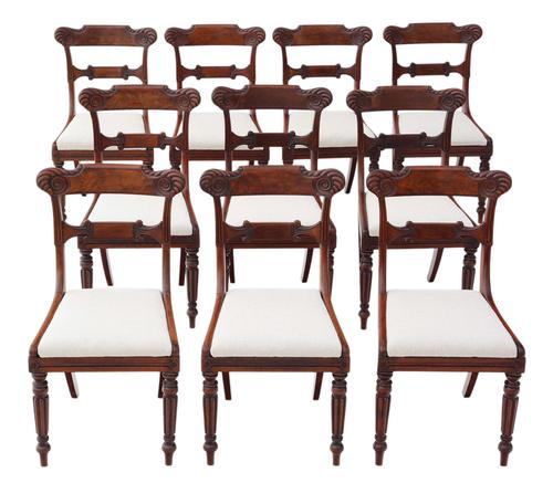 Set of 10 Regency Carved Mahogany Dining Chairs, 19th Century (1 of 8)