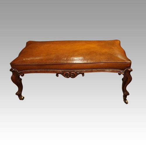 Large Victorian Leather Stool (1 of 7)