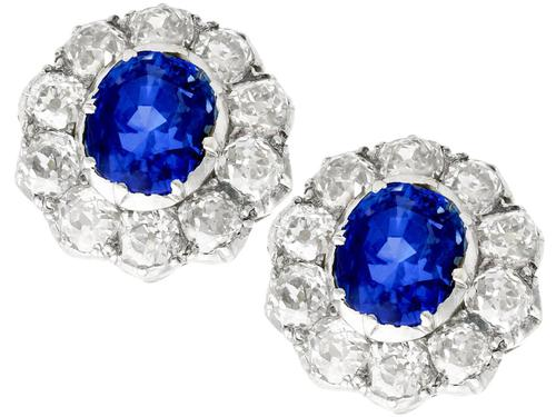 2.10ct Basaltic Sapphire & 3.30ct Diamond, 9ct Yellow Gold Cluster Earrings - Antique c.1890 (1 of 9)