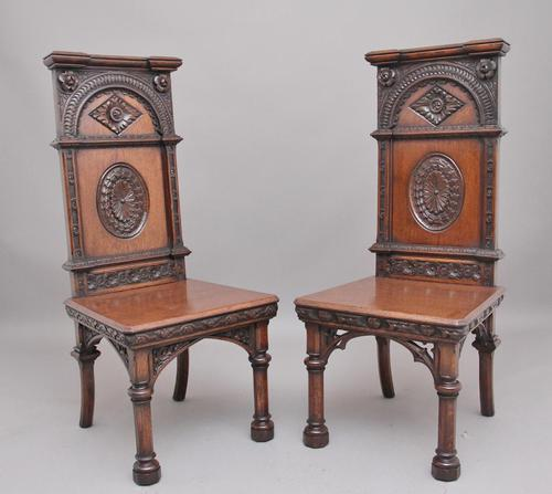 Near Pair of 19th Century Carved Oak Gothic Hall Chairs (1 of 12)