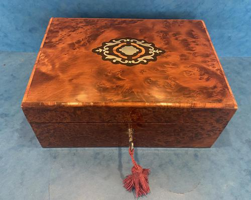 19th Century  French Burr Cedar Jewellery Box (1 of 11)