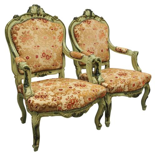 Pair of Italian Carved and Painted Armchairs (1 of 16)