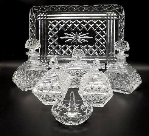 7 Piece Art Deco Glass Vanity Set with Perfume Bottles (1 of 7)