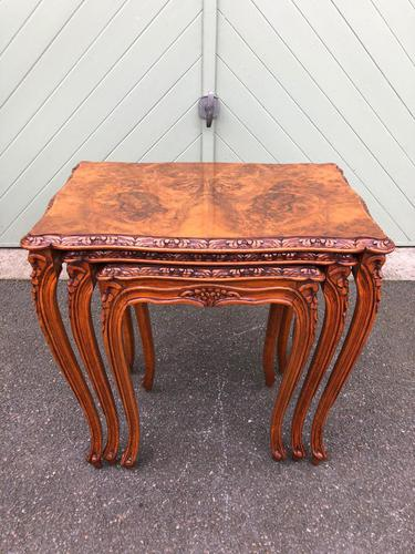 Quality Burr Walnut Nest of 3 Tables (1 of 10)