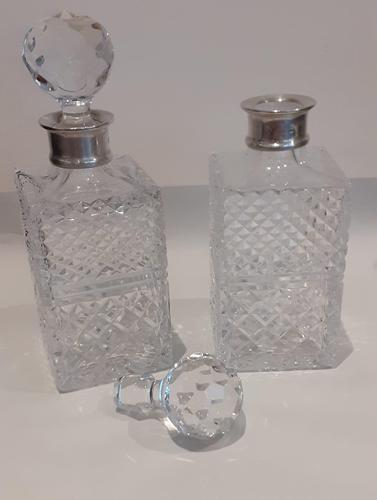 Pair Silver Top Decanters (1 of 7)