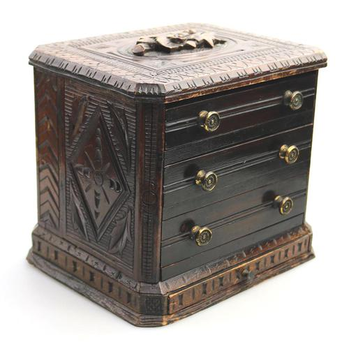 Black Forest Miniature Apprentice Piece Carved Chest 19th Century (1 of 11)