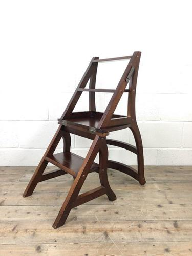 Mahogany Metamorphic Library Chair Steps (1 of 10)