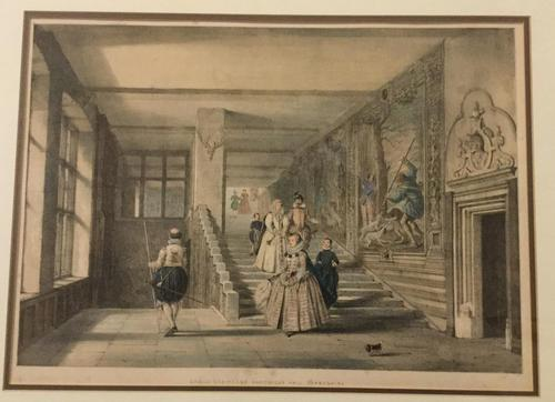 A pair coloured prints after Joseph Nash (1809-1878) of Hardwick Hall, Derbyshire (1 of 2)