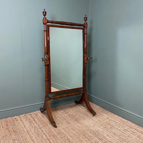 Elegant Regency Mahogany Antique Cheval Mirror (1 of 6)