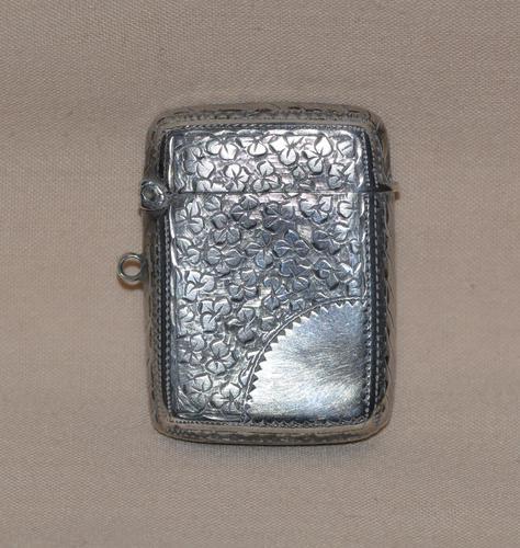 Victorian 1886 John Gammage Solid Birmingham Silver Vesta Case (1 of 4)