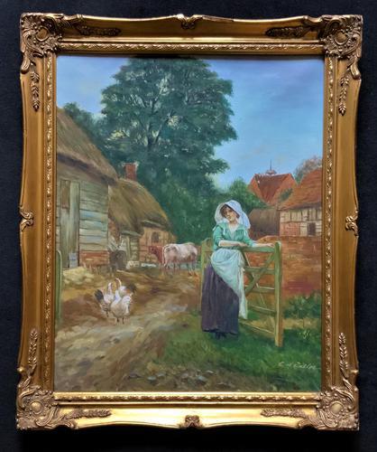 Wonderful Original Signed Vintage Oil Painting - Pretty Milkmaid in Farmyard (1 of 12)