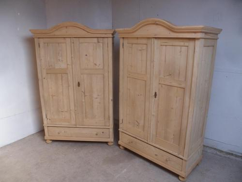 Pair of Antique Pine Cottage / Low Knockdown Wardrobes to wax / paint (1 of 12)