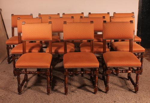Set of 12 Louis XIII Style Walnut Chairs (1 of 11)