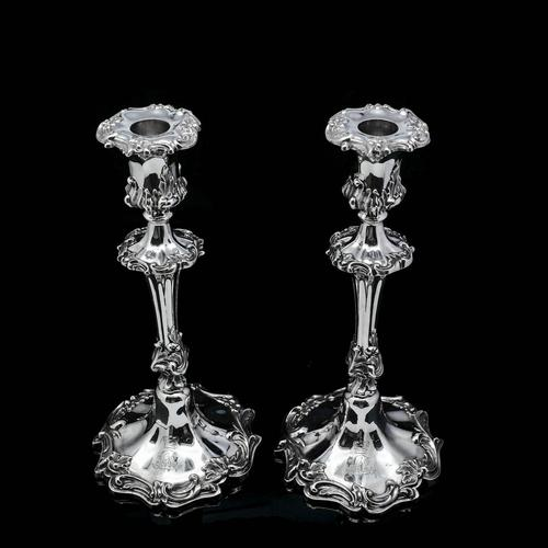 Antique Pair of Solid Silver Victorian Candlesticks - Henry Wilkinson & Co 1848 (1 of 31)