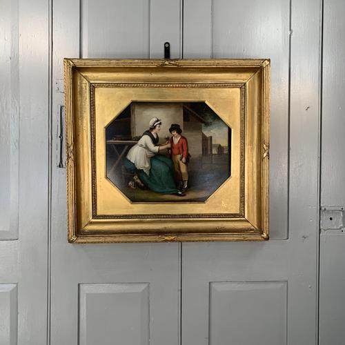 Antique Georgian oil painting study of mother and son at The Old Manor, Abbots Morton, Worcs (1 of 10)