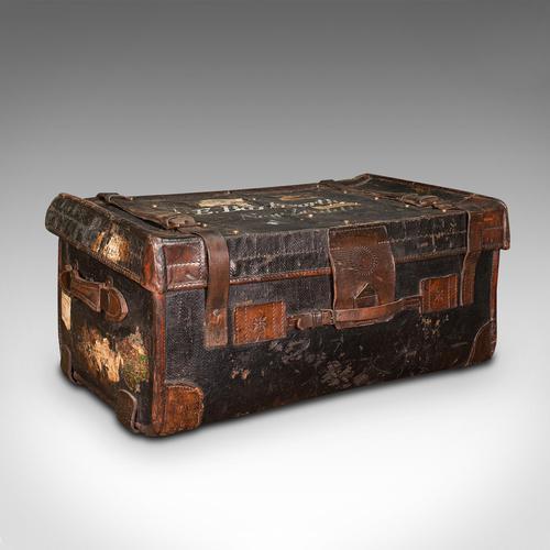 Vintage Overseas Voyage Trunk, English, Leather, Travel Case, Luggage c.1930 (1 of 12)