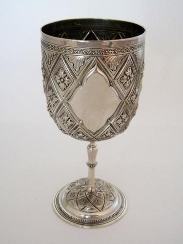 Victorian Silver Goblet Chased with Pineapple & Floral Pattern (1 of 7)