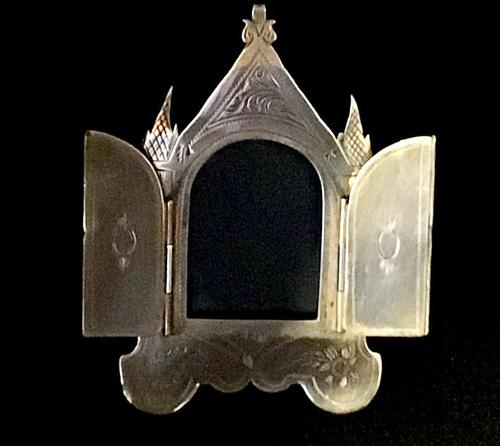 Small Brass Gothic Revival Easel Photo Frame (1 of 5)