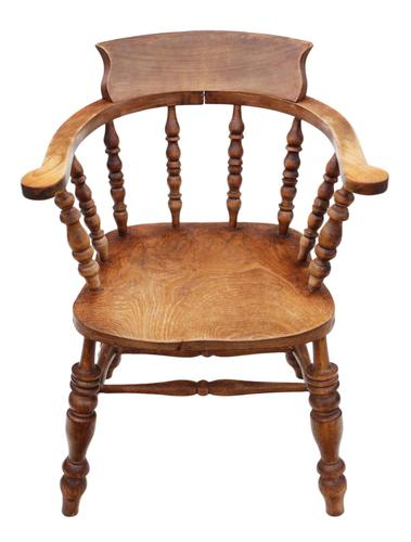 Elm and Beech Bow Armchair Elbow Desk Chair Victorian C1890 (1 of 8)