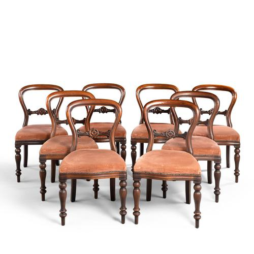 Attractive Set of Eight Late 19th Century Balloon Backed Chairs (1 of 4)