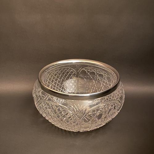 Edwardian Crystal & Silver Rim Bowl (1 of 3)