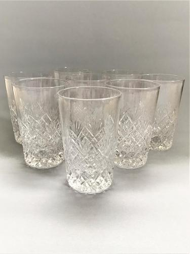 Superior Set of 8 Good Quality Cut Glass Water Tumblers (1 of 5)