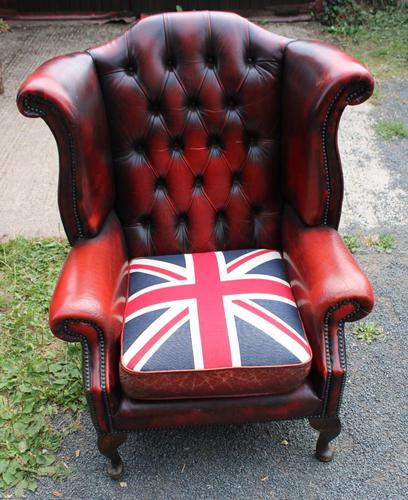1960s Red Leather Wingback Armchair with Union Jack (1 of 3)