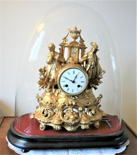Lovely 1860's French Spelter Striking Figurine Mantel Clock by Japy Frères (1 of 7)