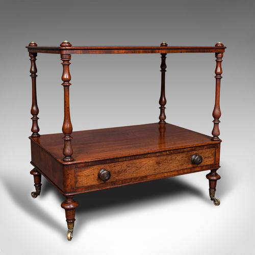 Antique Two Tier Side Table, Mahogany Whatnot, Regency Canterbury, Display Stand (1 of 12)