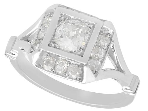 1.26 ct Diamond and Platinum Cluster Ring - Antique French Circa 1930 (1 of 9)