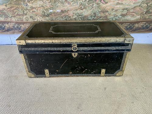 Early 19th Century Green Leather & Brass Bound Traveling Trunk (1 of 5)