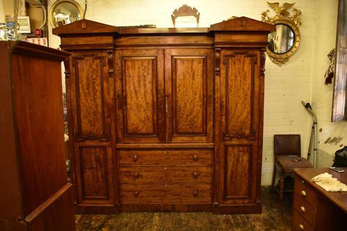 Antique William IV Mahogany 4 Door Wardrobe (1 of 5)