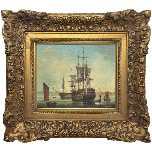 Seascape Oil Painting First Rate Man O War Ships Portsmouth Harbour Signed Brian Coole (1 of 39)