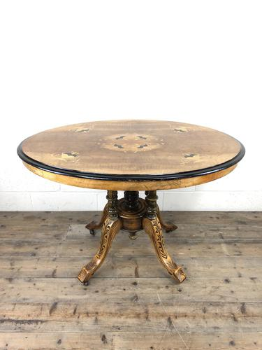 Victorian Walnut & Mixed Woods Inlaid Centre Table (1 of 11)