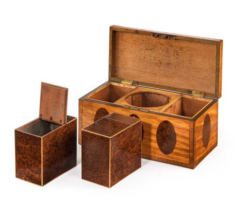 George III Period Satinwood & Burr Yew Tea Caddy (1 of 6)