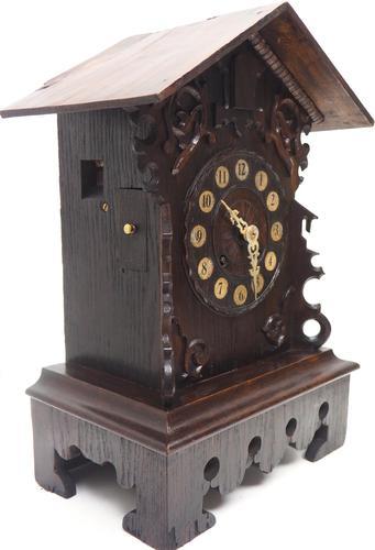 Rare Cuckoo Mantel Clock – German Black Forest Carved Bracket Clock (1 of 12)