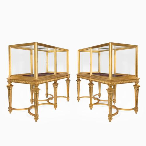 Large Pair of Late Victorian Giltwood Museum Cabinets (1 of 8)