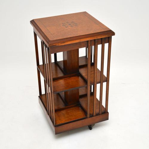 Antique Inlaid Walnut Revolving Bookcase (1 of 6)