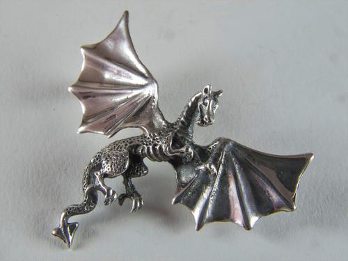 Heavy Silver Mythical Dragon Brooch (1 of 3)