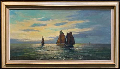 Andries Debeuf Flemish, Stunning Large Moonlit Seascape Oil Painting (1 of 13)