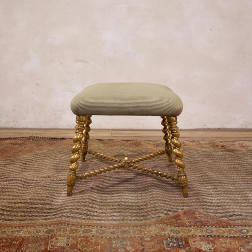 19th Century French Square Giltwood & Upholstered Stool Ottoman - Table (1 of 10)
