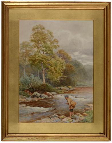 Antique Watercolour - Man Fishing - John Bates Noel 1870-1927 (1 of 3)