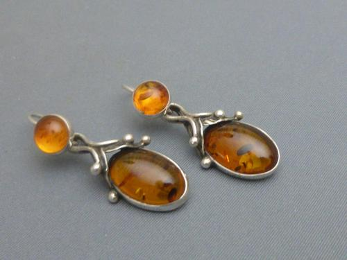 Pair of sterling silver and amber drop earrings (1 of 5)
