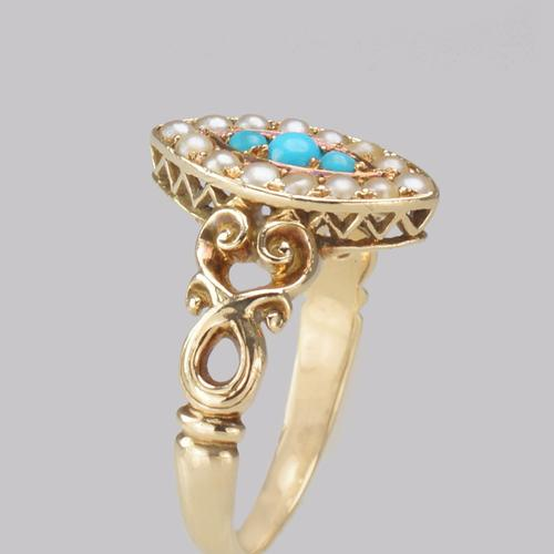 Antique Turquoise & Pearl Ring 18ct Gold Victorian Navette Shaped Ring circa 1890 (1 of 16)