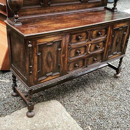 Carved Oak Sideboard with Upstand (1 of 1)